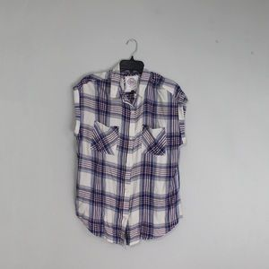 NEW SO button up flannel short sleeve shirt
